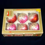 Click to view larger image of Box Retro West Germany Squiggle Mica 2 Tone Christmas Ornaments (Image1)