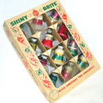 Box Shiny Brite Striped Small Bells Christmas Ornaments