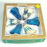 Box Lanissa West Germany Blue White Mica Bells Christmas Ornaments