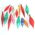 15 Vintage Blown Glass Icicle Drop Christmas Ornaments