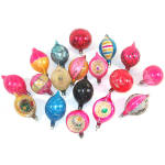 18 Poland Glittered Painted 1950s Glass Christmas Ornaments