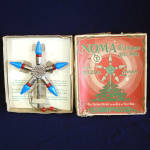 Click here to enlarge image and see more about item 11782-3: 1920s Noma Lighted Metal Christmas Tree Star Topper In Box