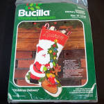 Click here to enlarge image and see more about item 11782: Bucilla Jeweled Sequin Santa Christmas Delivery Stocking Kit