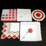 Click here to enlarge image and see more about item 11783-2: 4 Christmas Hankies Plus Bonus Christmas Doily