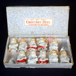 Click to view larger image of Ten 1950s Porcelain Christmas Angel Bell Ornaments in Box (Image1)