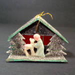 Click to view larger image of Mica Cardboard Stable Scene Angel Santa Christmas Ornaments (Image2)