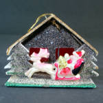 Click to view larger image of Mica Cardboard Stable Scene Angel Santa Christmas Ornaments (Image3)