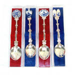 Click here to enlarge image and see more about item 11787: Set 4 Holland Delft Silverplate and Ceramic Collector Spoons