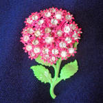 Click to view larger image of Rhinestone and Enamel Pink Dimensional Flower Pin Brooch (Image1)