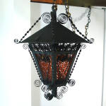 Click here to enlarge image and see more about item 11790: Wrought Iron and Glass 1970s Retro Gothic Hanging Swag Lamp