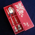 Click here to enlarge image and see more about item 11800: Boxed Swedish Silverplate Sweet Fork, Coffee Spoon Set