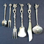Click here to enlarge image and see more about item 11801: Ornate Italy Florentine Silverplate Figural Dessert Serving Utensils Set