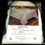 Click here to enlarge image and see more about item 11804: 1970s Quaker Lace Rosemont Round Tablecloth Unused in Package