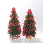 2 German Red Flocked Christmas Bottle Brush Trees