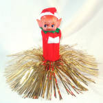 Click here to enlarge image and see more about item 11814: Gold Tinsel Christmas Knee Hugger Pixie Elf Tree Topper