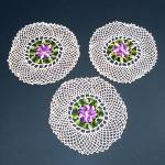 Click here to enlarge image and see more about item 11833-2: 3 Crocheted Purple Pansy Flower Vintage Doilies
