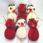1950s Japan Tissue Honeycomb Birds Christmas Ornaments