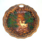 Click here to enlarge image and see more about item 11852: Carved Effect Wood Resin Deer in Forest Scenic Bowl