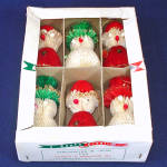 Click here to enlarge image and see more about item 11861-3: Box 60s Honeycomb Tissue Santa Snowman Christmas Ornaments