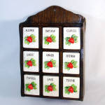 Click here to enlarge image and see more about item 11861: 1950s Wall Spice Rack Set With Strawberry Ceramic Jars