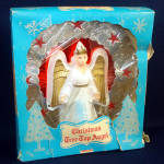 Click here to enlarge image and see more about item 11870: 1950s Foil and Celluloid Angel Tree Topper in Original Box