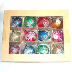 Box 1950s Poland Fantasia Glitter Scenes Glass Christmas Ornaments