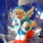 Click to view larger image of Skiing Angel Dimensional Dome Scene Glass Christmas Ornament (Image2)