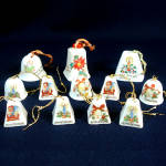 Click to view larger image of Dozen Miniature Porcelain Christmas Bell Ornaments (Image1)