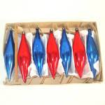 Click to view larger image of Box Poland Blue Red Blown Glass Icicle Christmas Ornaments (Image2)