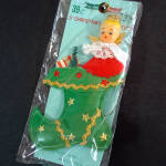 Angel in Christmas Stocking 1960s Japan Ornament Mint in Package