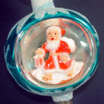Click to view larger image of Boxed Santa Diorama Indent Scene Glass Christmas Tree Topper (Image2)