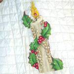 Click to view larger image of 1950s Quilted Vinyl Fancy Beaded Applique Christmas Tree Skirt (Image4)