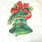 Click to view larger image of 1950s Quilted Vinyl Fancy Beaded Applique Christmas Tree Skirt (Image8)