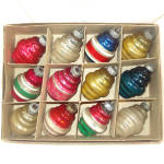 Box Shiny Brite Deco Ringed Lantern Glass Christmas Ornaments