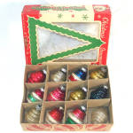 Click to view larger image of Box Shiny Brite Deco Ringed Lantern Glass Christmas Ornaments (Image2)