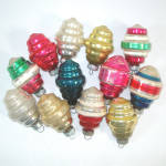 Click to view larger image of Box Shiny Brite Deco Ringed Lantern Glass Christmas Ornaments (Image3)