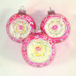 3 Fancy 1960s Pink Yellow Glittered Indent Christmas Ornaments