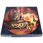 Click here to enlarge image and see more about item 11954-2: Precious Treasures Kitten, Flowers Springbok Round Jigsaw Puzzle