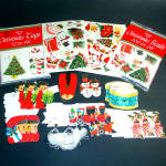 Click here to enlarge image and see more about item 11954: 4 Pack Assortment 1960s Christmas Tags and Stickers Seals