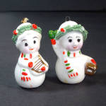 Click here to enlarge image and see more about item 11956: Napco Mini Bone China Starry Eye Christmas Snowman Ornaments