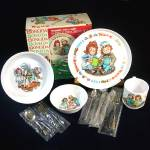 Click here to enlarge image and see more about item 11959: Raggedy Ann Andy Deluxe Childs Melamine Dinnerware Set Mint in Box