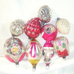 9 Vintage Japan Shapes and Figural Glass Christmas Ornaments