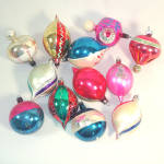 Click to view larger image of Box Poland 1950s Blown Glass Parachute, Balloon, Indent Christmas Ornaments (Image4)