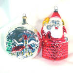 Click here to enlarge image and see more about item 12001: Santa Claus In Chimney and Church Scene Glass Christmas Ornaments