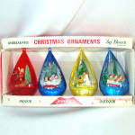 Box Jewel Brite Plastic Scene Christmas Ornaments Angel, Santa, Choir Boys