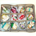 Box Czech, West Germany Figural Glass Christmas Ornaments