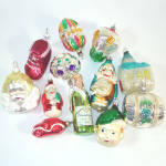Click to view larger image of Box Czech, West Germany Figural Glass Christmas Ornaments (Image2)