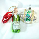 Click to view larger image of Box Czech, West Germany Figural Glass Christmas Ornaments (Image4)