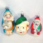 Click to view larger image of Box Czech, West Germany Figural Glass Christmas Ornaments (Image5)