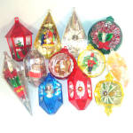 Click here to enlarge image and see more about item 12063: Dozen Lot Jewel Brite 1960s Plastic Christmas Ornaments